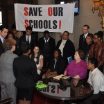 Assembly Members Jaffee and Zebrowski, along with Education Chair Nolan, meet with students from East Ramapo who are delivering a petition with over 6,000 signatures asking for state intervention.