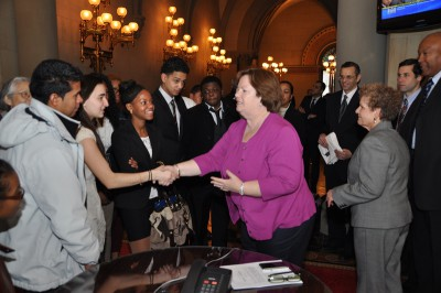 Education Chair Cathy Nolan Greets East Ramapo Students